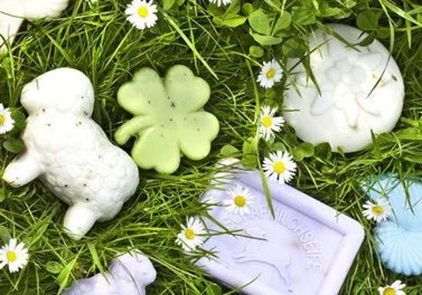 Bild von Schafmilchseife - Wiesendurft - Rosenform (1kg/39,50€)